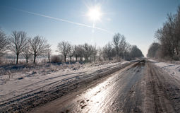 El camino en hielo Foto de archivo libre de regalías