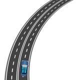 El camino, la perspectiva de la carretera El coche en el camino Ilustración Imagen de archivo