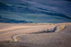 El camino largo en colinas toscanas Imagen de archivo libre de regalías