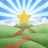 El camino a star recicló el arte de papel y el arco iris Imágenes de archivo libres de regalías