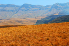 El camino, trayectoria en montañas del dragón de Drakensberg ajardina Imagen de archivo