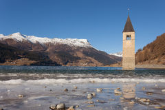 El campanario de Curon que aparece del lago congelado, Resia, Ty del sur Imagen de archivo libre de regalías