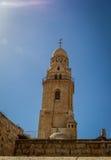El campanario de la abadía de Dormition en Jerusalén Foto de archivo
