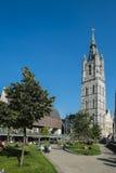 El campanario de una iglesia en Gante Imagenes de archivo