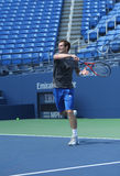 El campeón Andy Murray del Grand Slam de dos veces practica para el US Open 2013 en Louis Armstrong Stadium Imagenes de archivo