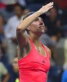 El campeón Angelique Kerber del Grand Slam de Alemania celebra la victoria después de su partido de semifinal en el US Open 2016 Fotografía de archivo