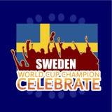 El campeón del mundial de Suecia celebra el ejemplo del diseño de la plantilla del vector ilustración del vector