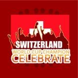 El campeón del mundial de Suiza celebra el ejemplo del diseño de la plantilla del vector stock de ilustración