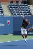El campeón Lleyton Hewitt del Grand Slam de dos veces practica para el US Open 2013 Imagenes de archivo