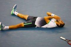 El campeón Marin Cilic del US Open 2014 celebra la victoria después de partido final contra Kei Nishikori Foto de archivo libre de regalías