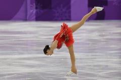 El campeón olímpico Alina Zagitova del atleta olímpico de Rusia se realiza en el patinaje libre de Team Event Ladies Single Skati Fotos de archivo libres de regalías