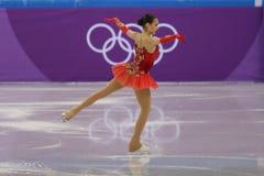 El campeón olímpico Alina Zagitova del atleta olímpico de Rusia se realiza en el patinaje libre de Team Event Ladies Single Skati Imagenes de archivo