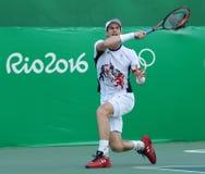 El campeón olímpico Andy Murray de Gran Bretaña en la acción durante los hombres escoge el cuarto de final de la Río 2016 Juegos  Fotos de archivo libres de regalías