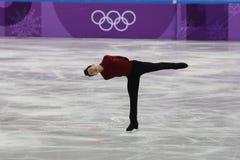 El campeón olímpico Patrick Chan de Canadá se realiza en el patinaje libre de Team Event Men Single Skating en las 2018 olimpiada Fotografía de archivo