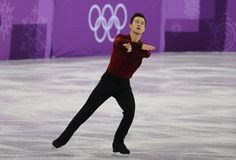 El campeón olímpico Patrick Chan de Canadá se realiza en el patinaje libre de Team Event Men Single Skating en las 2018 olimpiada Imagen de archivo libre de regalías