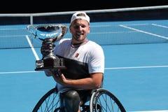 El campe?n Dylan Alcott de Grand Slam de Australia durante la silla de ruedas del patio de Abierto de Australia de la presentaci? fotos de archivo