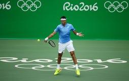 El campeón Juan Martin Del Potro del Grand Slam de la Argentina en la acción durante sus hombres escoge el partido final de la Rí Imagen de archivo