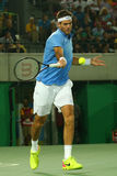 El campeón Juan Martin Del Potro del Grand Slam de la Argentina en la acción durante sus hombres escoge el partido final de la Rí Foto de archivo