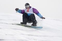 EL CAMPEONATO DE RUSIA EN UN SNOWBOARD Foto de archivo