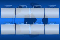 El campeonato del fútbol agrupa esquema Soporte del grupo del torneo del fútbol en el fondo azul con la bola ilustración del vector