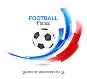 El campeonato 2016 del fútbol de Francia del euro con la bola y Francia señalan vector por medio de una bandera Fotos de archivo libres de regalías