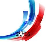 El campeonato 2016 del fútbol de Francia del euro con la bola y Francia señalan vector por medio de una bandera stock de ilustración