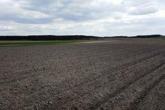 El campo arado, alista para sembrar Foto de archivo libre de regalías