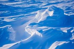 El campo Barneo en los copos de nieve del modelo del cubo de la nieve del llano de la nieve del Polo Norte alinea Foto de archivo libre de regalías