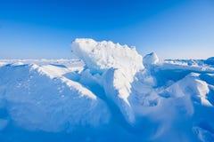 El campo Barneo en los copos de nieve del modelo del cubo de la nieve del llano de la nieve del Polo Norte alinea Fotografía de archivo libre de regalías