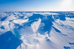 El campo Barneo en los copos de nieve del modelo del cubo de la nieve del llano de la nieve del Polo Norte alinea Fotografía de archivo