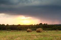 El campo con la paja rueda en un día de verano Imagenes de archivo