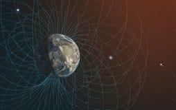 El campo magnético de la tierra del planeta ilustración del vector