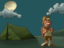 El campo y el explorador stock de ilustración