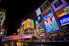 El canal de Dotonbori en el distrito de Namba de Osaka imagenes de archivo