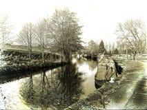 El canal de Leeds Liverpool en Salterforth en el campo hermoso en la frontera de Lancashire Yorkshire en Inglaterra septentrional Fotos de archivo libres de regalías