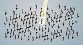 El candidato del reclutamiento de Spotlight Human Resource del hombre de negocios, hombres de negocios emplea el concepto 3d isom Fotos de archivo
