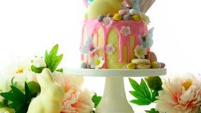 El candyland de Pascua gotea la torta con el conejito blanco del chocolate en el fondo blanco