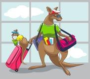 El canguro viaja con una familia ilustración del vector