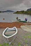 El Canoeing en el lago oleocalcáreo Foto de archivo