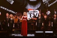 El cantante Valeria se realiza en etapa durante el 50.o concierto del cumpleaños del año de Viktor Drobysh en Barclay Center Fotos de archivo libres de regalías