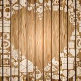 El capítulo en la forma del corazón de los elementos del día de tarjetas del día de San Valentín en el fondo texturizó la madera libre illustration