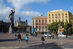 El Cap skulptur för de Barcelona i den Barcelona staden, Spanien Arkivfoton