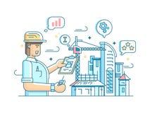 El capataz controla la construcción del edificio libre illustration