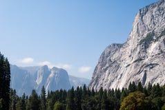 El Capitan在优胜美地国家公园,坐在森林上面上 免版税库存图片