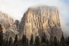 El Capitan. Shrouded by clouds in Yosemite National Park, California Royalty Free Stock Photos