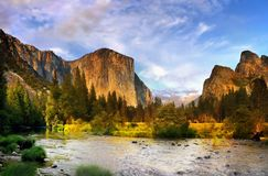 U.S. National Parks, Yosemite National Park. El Capitan and the Cathedral Rocks in Yosemite Valley. Yosemite National Park. U.S. National Parks royalty free stock images