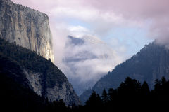 El Capitan and Half Dome in Storm Clouds Royalty Free Stock Photo