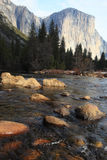 El Capitan and merced river Stock Photos