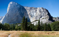 El Capitan Mountain Yosemite. El Capitan mountain in Yosemite taken from the valley floor looking across a meadow Stock Images