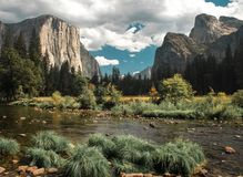 El Capitan rises high above the Yosemite Valley Floor royalty free stock photos